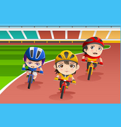 kids in a bicycle race vector image