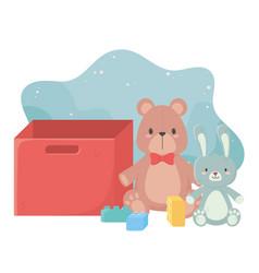 Kids toys teddy bear rabbit blocks and box object vector