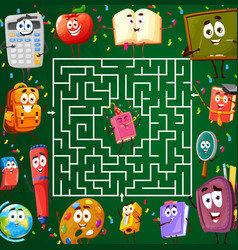 Labyrinth maze with school characters kids riddle vector
