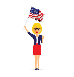 lady waving her usa flag vector image
