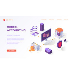 Landing page for digital accounting vector
