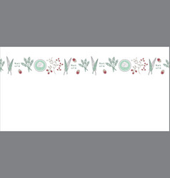 leaves and buds border swatch seamless repeat vector image