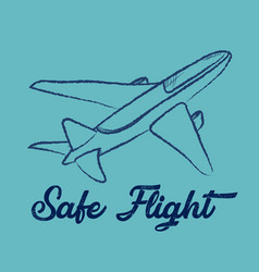 line drawing airplane on blue vector image