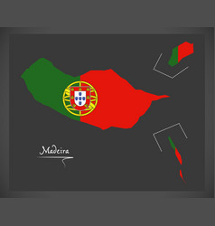 Madeira portugal map with portuguese national flag vector