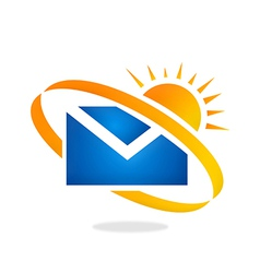 Mail message sunny day logo vector