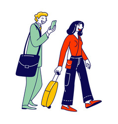 male and female characters with luggage boarding vector image