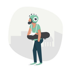 man broken hand injured with skateboard vector image