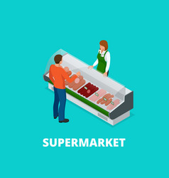 man chooses sausages in the store sausages and vector image