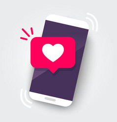 Martphone with heart emoji speech bubble vector