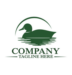 Modern floating duck and hunting logo vector