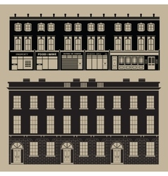Monochrome english terrace houses vector