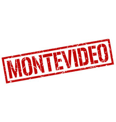 Montevideo red square stamp vector