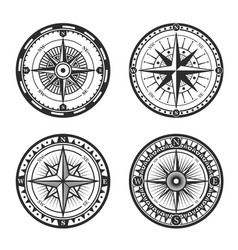 nautical compass wind rose vintage icons vector image