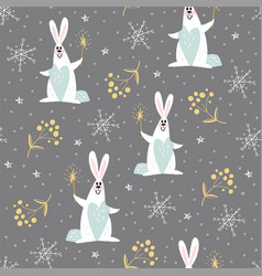 new year pattern with rabbits vector image