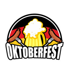 Oktoberfest sausage and beer logo emblem for vector