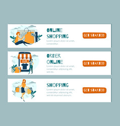 Online shopping banner mobile app template vector