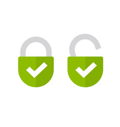 Padlock or lock icon open and closed flat vector