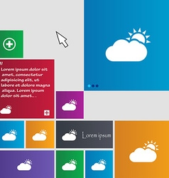 Partly Cloudy icon sign buttons Modern interface vector