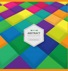 perspective of colorful square pattern with vector image