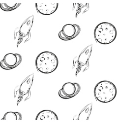 Planet and rocket ink imitation seamless pattern vector