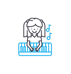 Playing piano linear icon concept playing piano vector