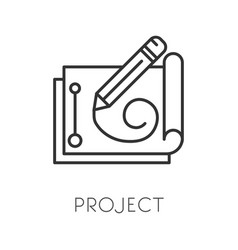 project or draft paper and pencil drawing vector image