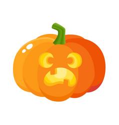 Pumpkin jack-o-lantern with scared face cartoon vector