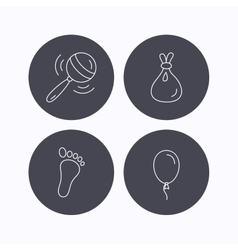 Rattle toy footprint and air balloon icons vector image
