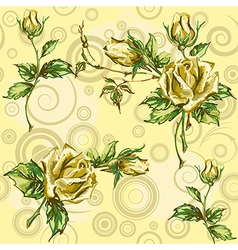 Rose pattern on yellow vector