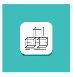 Round button for arrange design stack 3d box line vector
