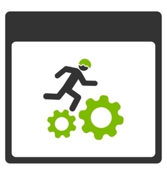 Running Worker Calendar Page Flat Icon vector