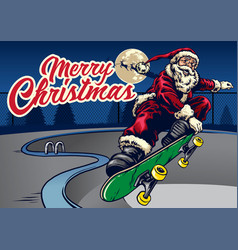 santa claus playing skateboard in the pool vector image