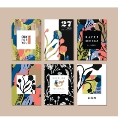 Set of abstract creative cards Hand drawn art vector