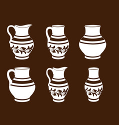 Set of ceramic crockery in brown and white colors vector