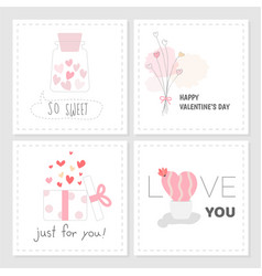 set of valentines day tag sweet pink color hand vector image