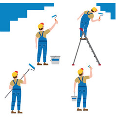set painter proffessional characters man at work vector image