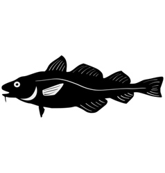 Silhouette of codfish vector image vector image