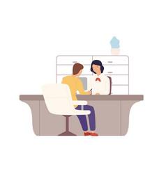 smiling cartoon woman bank worker and man customer vector image