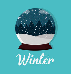 Snowing crystal with lanscape and pines trees vector