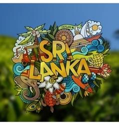 Sri Lanka hand lettering and doodles elements vector