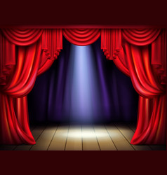stage with opened red curtains realistic vector image