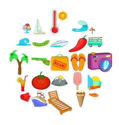 summer activity icons set cartoon style vector image