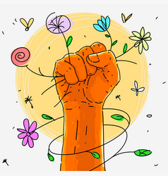 symbol fist rebellion with flowers vector image