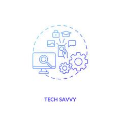 Tech savvy blue gradient concept icon vector