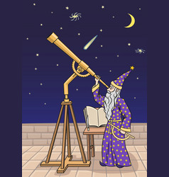 the astronomer at the telescope vector image