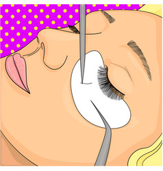 the process of eyelash extensions in the beauty vector image