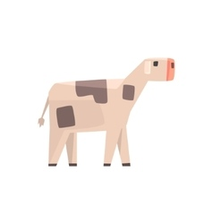 Toy Simple Geometric Farm Baby Cow Browsing Funny vector image