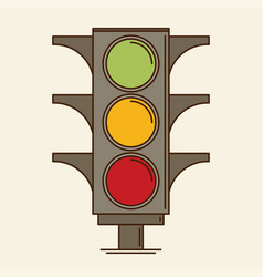 traffic light single flat icon vector image