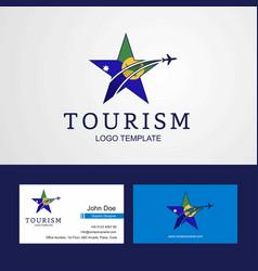 Travel christmas island flag creative star logo vector