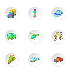 Types of transport icons set cartoon style vector
